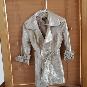 Bebe belted silver/gold leather jacket sz S